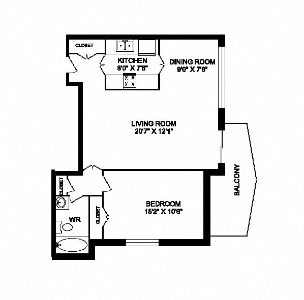 One bedroom, one bathroom apartment layout at San Remo in Toronto, ON