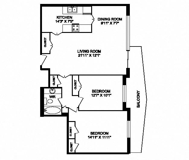 Two bedroom, one bathroom apartment layout at San Remo in Toronto, ON