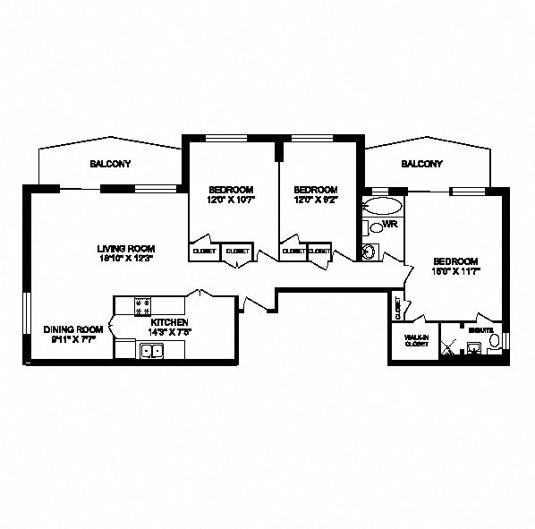 Three bedroom, two bathroom apartment layout at San Remo in Toronto, ON