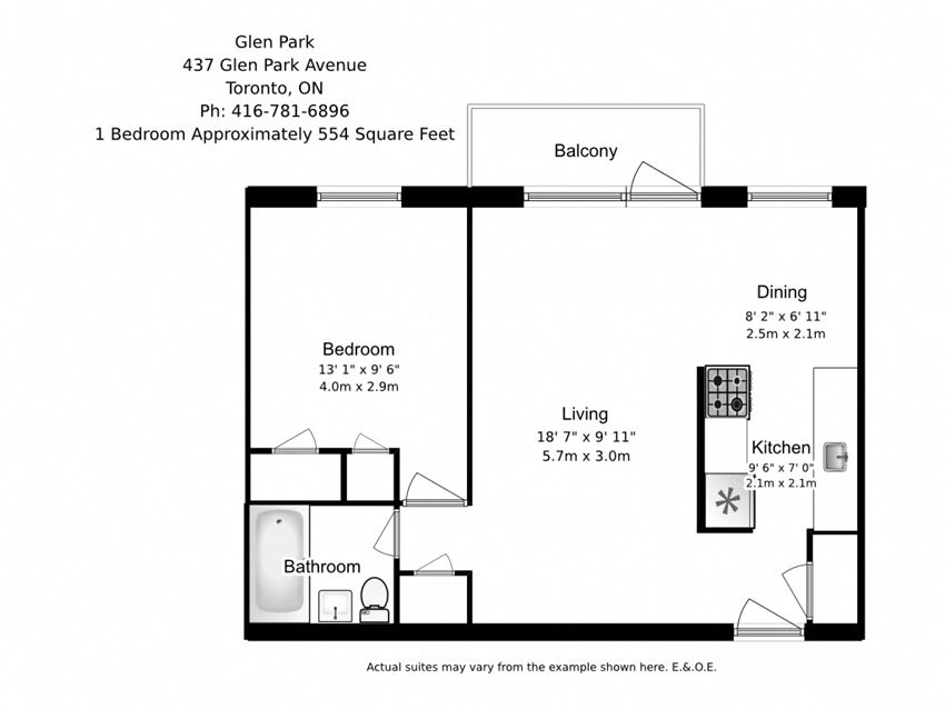 One bedroom, one bathroom apartment layout at Glen Park Apartments in Toronto, ON