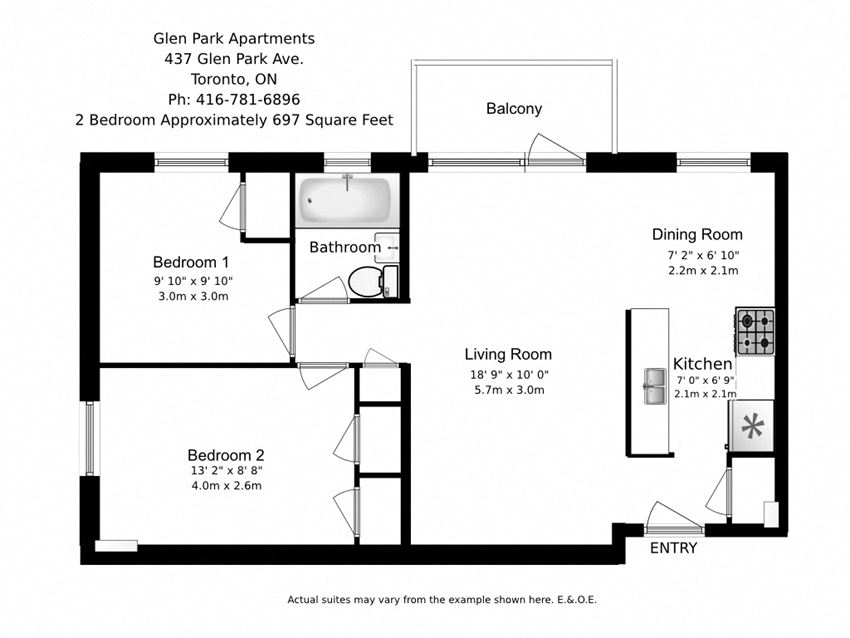 Two bedroom, one bathroom apartment layout at Glen Park Apartments in Toronto, ON