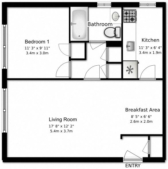 1 bed, 1 bath, open concept, modern apartments at Bexhill Court Apartments in Toronto, ON