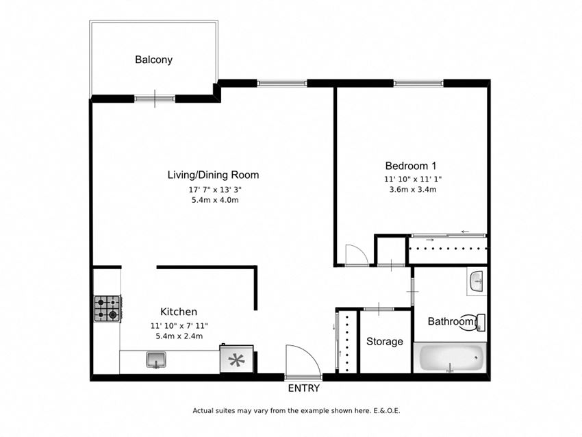 One bedroom, one bathroom apartment layout at Mary Street Apartments in Whitby, ON