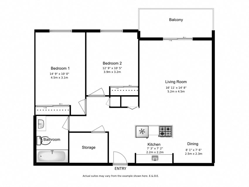 Two bedroom, one bathroom apartment layout at Mary Street Apartments in Whitby, ON