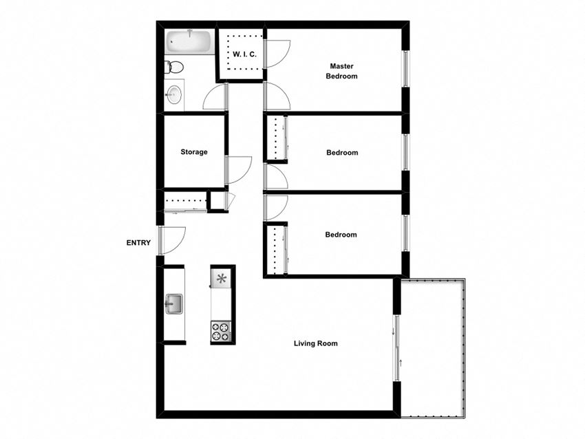 Three bedroom, one bathroom apartment layout at Mary Street Apartments in Whitby, ON