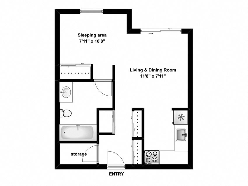 Bachelor, one bathroom apartment layout at Mary Street Apartments in Whitby, ON