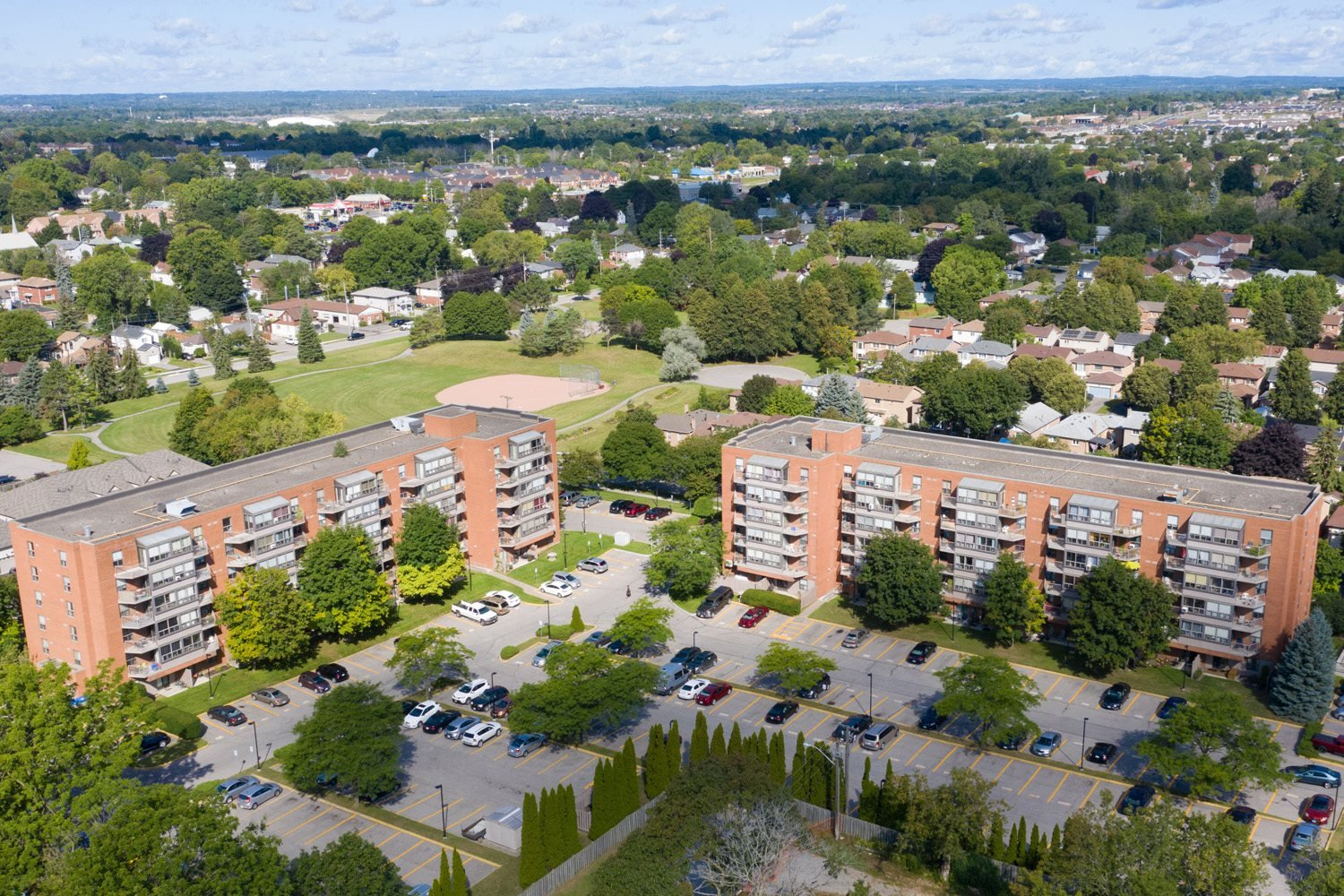 Regency Place drone image of exterior of building in Whitby, ON