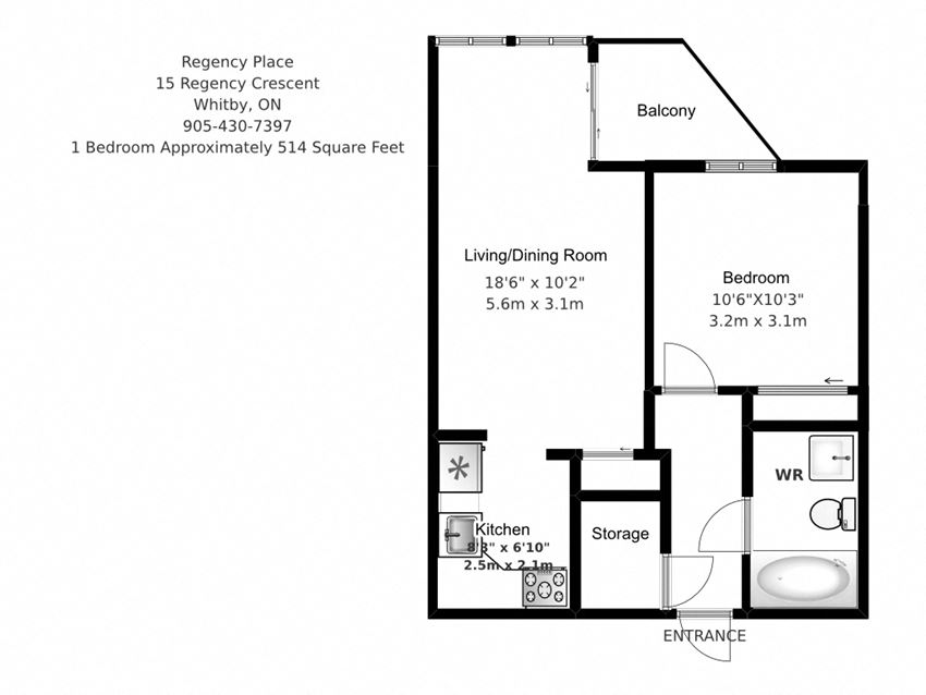 One bedroom, one bathroom apartment layout at Regency Place in Whitby, ON