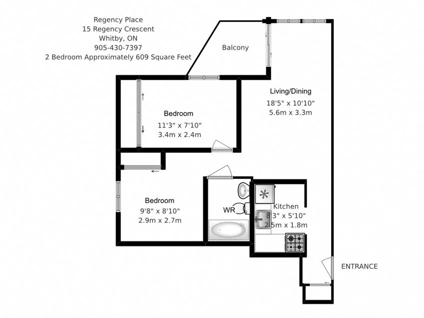 Two bedroom, one bathroom apartment layout at Regency Place in Whitby, ON