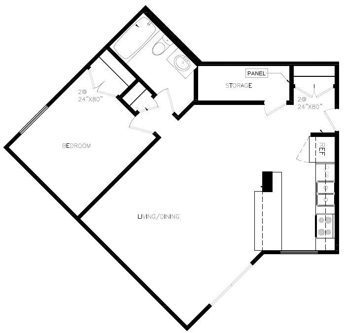One bedroom, one bathroom apartment layout at Whitby Place in Whitby, ON