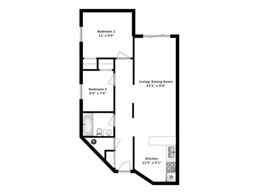 Two bedroom, one bathroom apartment layout at Whitby Place in Whitby, ON