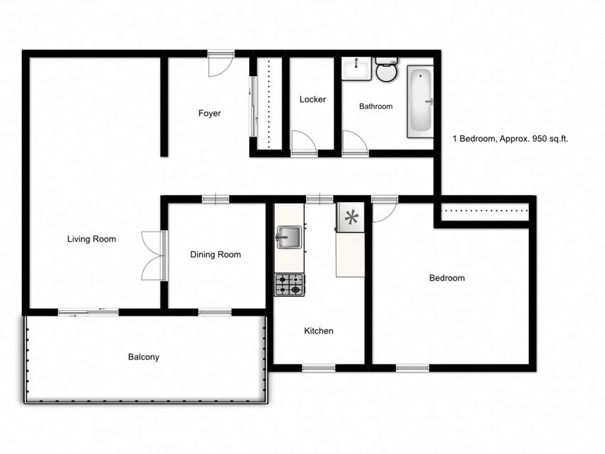 One bedroom, one bathroom apartment layout at Northgate Tower in Woodstock, ON