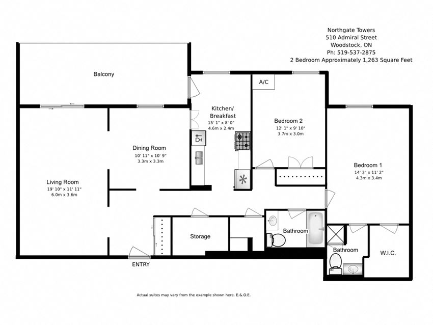 Two bedroom, two bathroom apartment layout at Northgate Tower in Woodstock, ON