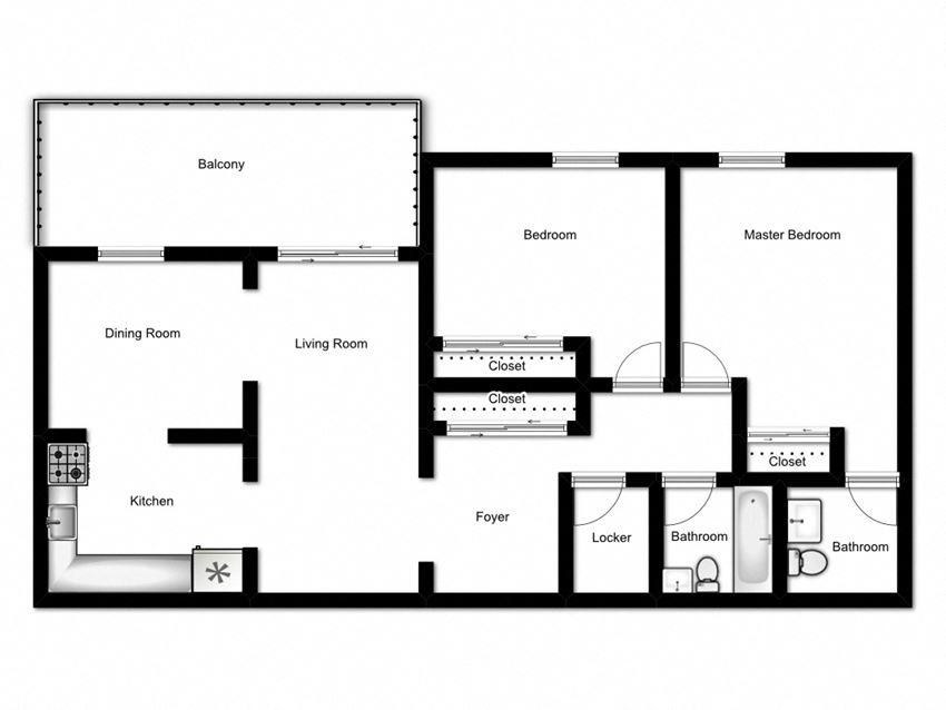 Two bedroom, one bathroom apartment layout at Northgate Tower in Woodstock, ON