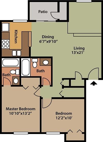 2 BEDROOM, 2 BATHROOM, 905 SQFT.