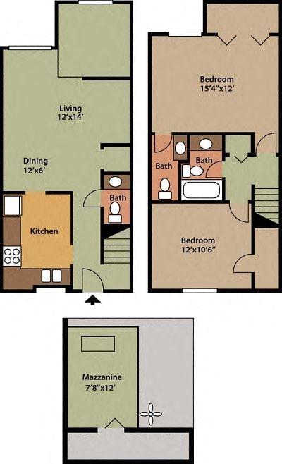 2 BEDROOM, 1.5 BATHROOM, 1137 SQFT.