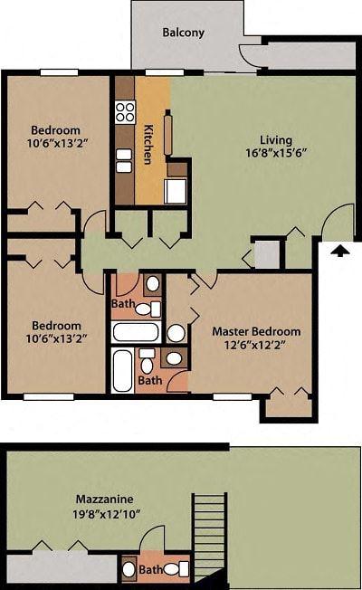 3 BEDROOM, 2.5 BATHROOM, 1500 SQFT.