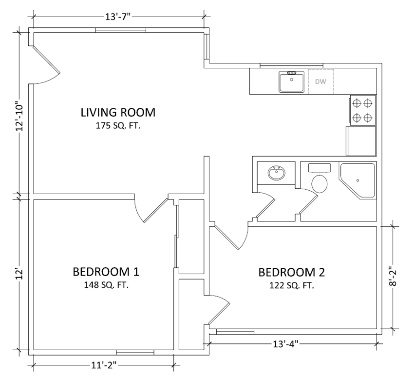 2 bedroom 1 bath apartment