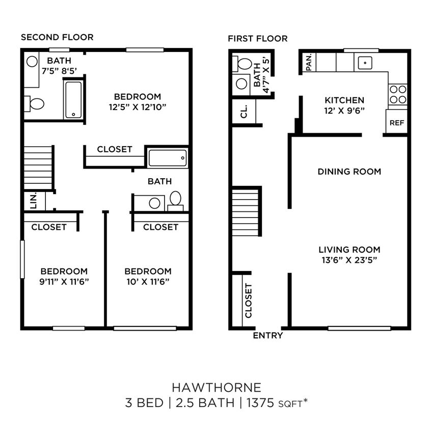 3 Bedroom 2.5 Townhome