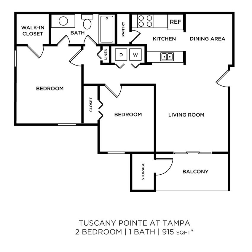 2 Bedroom, 1 Bath