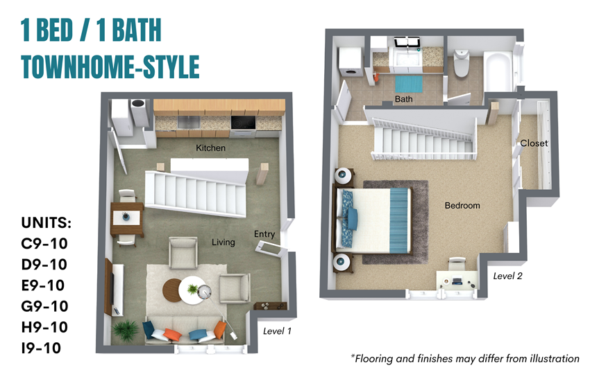 1 Bedroom / 1 Bath: Townhome Style