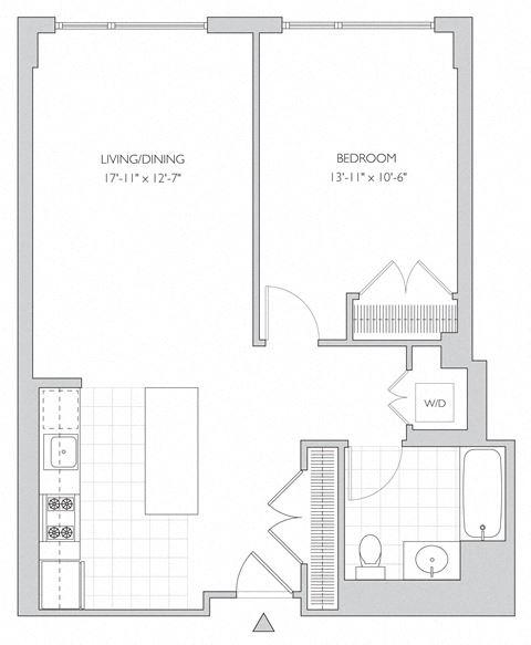 one-bedroom apartment floor plan