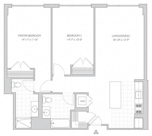two-bedroom luxury apartment floor plan in New Brunswick, NJ