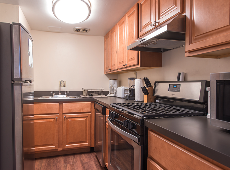 Kitchen with lots of storage, Walnut Towers at Frick Park in Monroeville, Pennsylvania