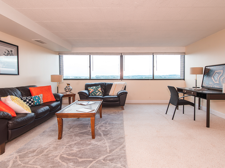 Living Room, Walnut Towers at Frick Park, pet-friendly apartments in Pittsburgh, PA