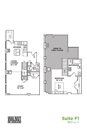 1.5 BR 1.5 Baths Suite F Loft