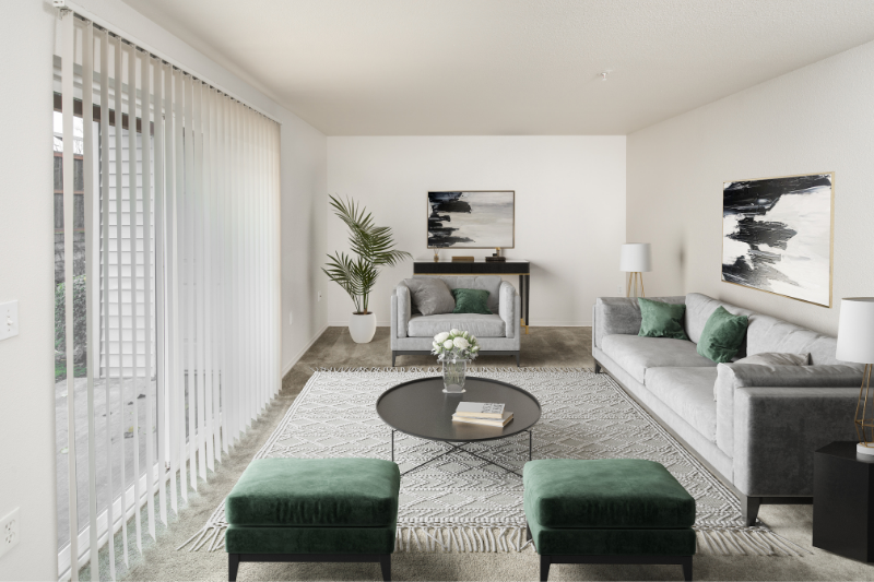 Village living room with green and gray virtual furniture
