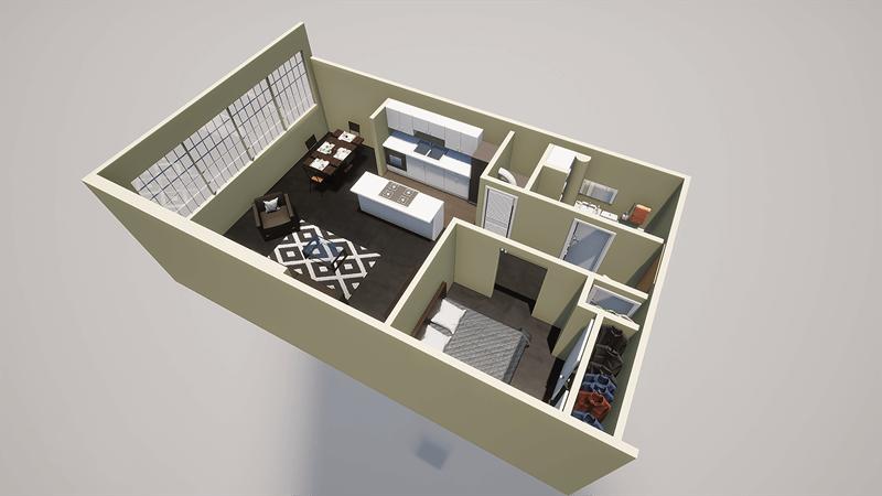 1 bed 1 bath loft for rent floor plan