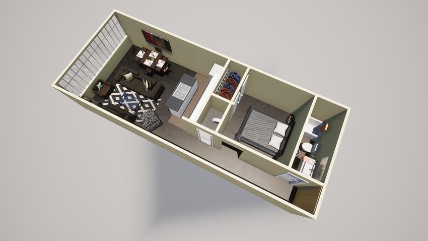 1 bed one bath apt floor plan