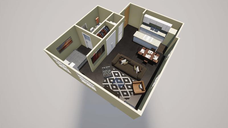 1 bed 1 bath apt floor plan in downtown little rock