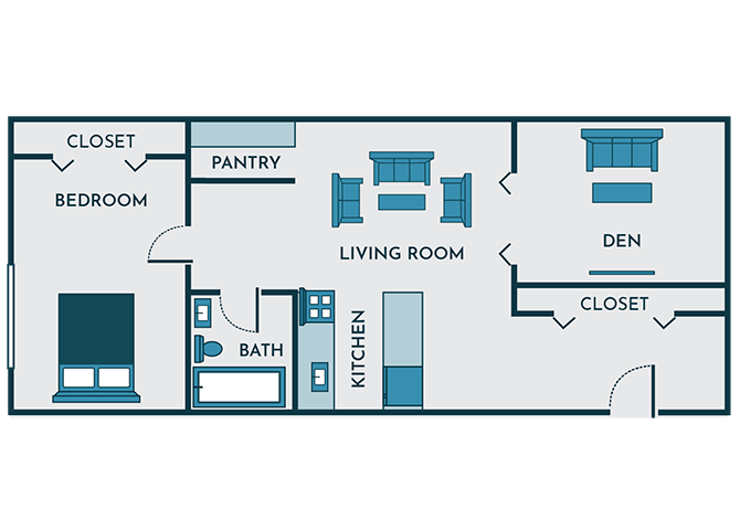 1 bedroom apartment with den