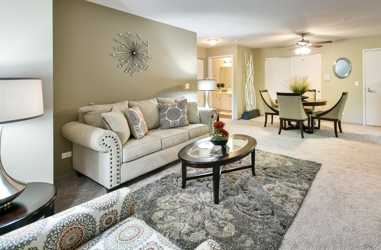 living and dining room at Northgate Apartments in Waukegan, IL