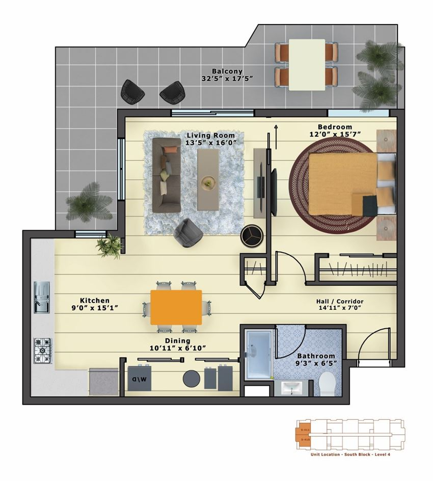 Emerald+ (1bed/1bath) stainless & tile