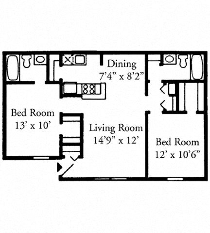 Two Bedroom, Two Bath Downstairs Floor Plan 3