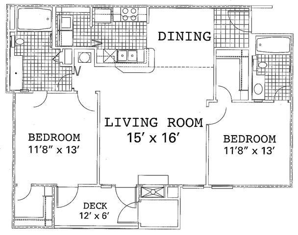 2 Bedroom 2 Bath Renovated Floor Plan 3