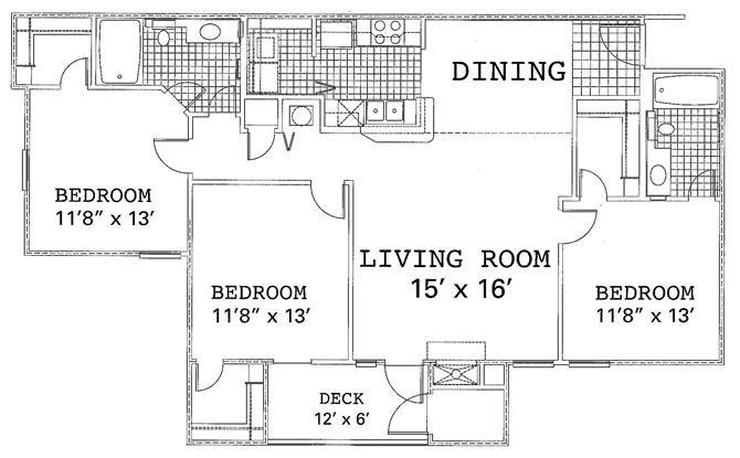 3 Bedroom 2 Bedroom Renovated Floor Plan 5