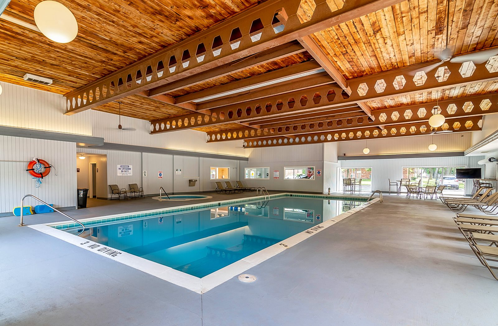 Indoor Pool and Hot Tub at Tiffany Woods Apartments in Musekgon MI