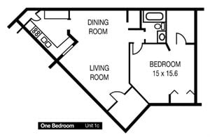 One Bedroom Unit 1c