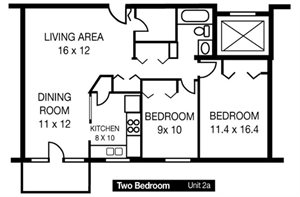Two Bedroom Unit 2a