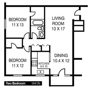 Two Bedroom Unit 2b