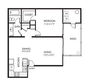Monarch Coast 1 Bedroom Floor Plan - A1