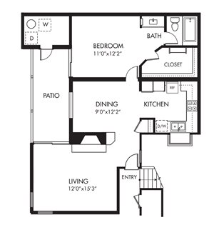 Monarch Coast 1 Bedroom Floor Plan - A2