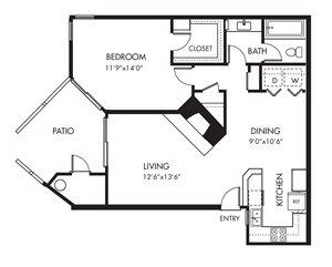 Monarch Coast 1 Bedroom Floor Plan - A3