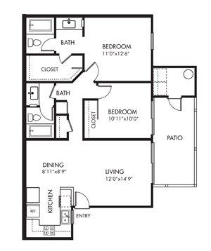 Monarch Coast 2 Bedroom Floor Plan - B1