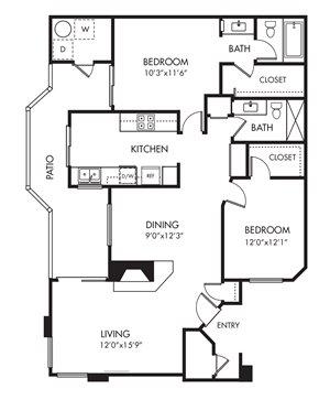 Monarch Coast 2 Bedroom Floor Plan - B2
