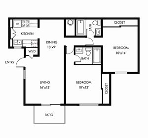 The Arbors 2 Bedroom Floor Plan - B1